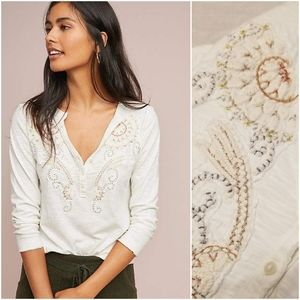 Akemi + kin Embroidered Henley Top S